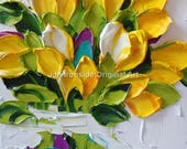 Oil Painting Impasto oil Art canvas yellow tulips wall art  thick paint tulip painting
