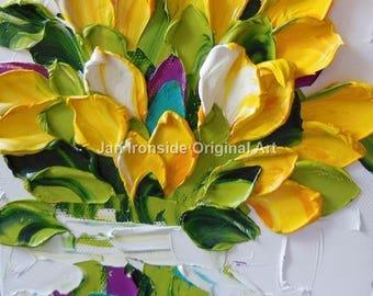 Oil Painting Impasto  oil Art  canvas yellow tulips