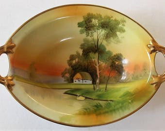 Antique Porcelain Dish, Nippon Decorative Dish, Hand Painted, Old Trinket Dish, Oval Dish, Country Scene, Swan, Gold Rimmed, Made In Japan