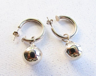 Vintage Sterling Silver Convertible Hoop Earrings with Charm on Etsy by APURPLEPALM