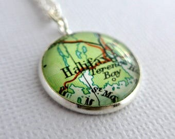 Personalized Pendant, Bronze Anniversary Gift, Map Jewelry, Customised Necklace, Gift for Women