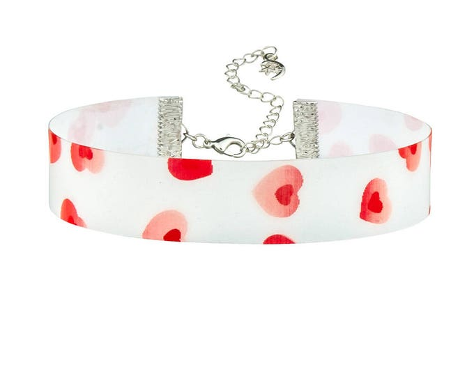 Adjustable White with Red Beating Hearts Holographic 3D Lenticular Choker Necklace