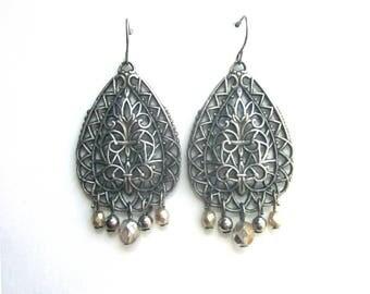 Vintage Silver Dangle Earrings Pierced Metal Art Nouveau Style