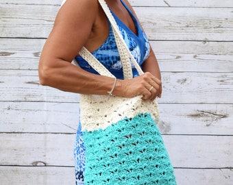 Crochet tote cotton off white aqua blue reusable tote avoska natural beach farmers market boho bohemian gift for friend summer bag book bag