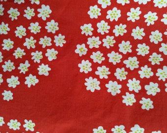 Marimekko PUKETTI old fabric cotton red and white. Light yellow green dots. Rare. Annika Piha 1972