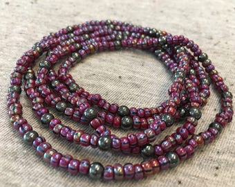 Purple Beaded Necklace, Long Beaded Necklace, Hematite Beads, Czech Glass Beads, Boho Jewelry, Womens Jewelry, Gifts for Her, Long Necklace