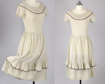 1930s Dress / Adorable 30s Cotton Bohemian Dress