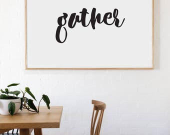 Gather Farmhouse Style Decal 12x24 saying Chunky Script Decor Vinyl Wall Decal Graphic