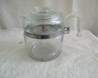 Pyrex Glass FlameWare 6 Cup Coffee Pot complete