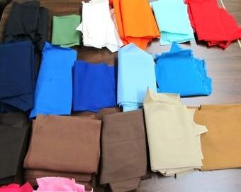 fabric scraps, quilting cotton/polyester, destash fabric pieces, cotton craft fabric, supplies, solid color cotton polyester scraps