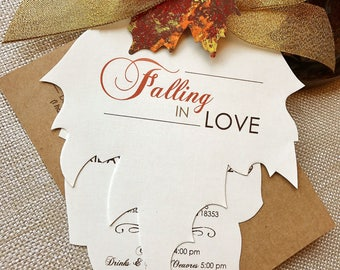 Falling in Love, Fall Wedding Invitations, Autumn Wedding Invitations, Leaf Invitation, Rustic Wedding Invitation, Metallic Gold Wedding