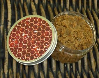 Sugar Scrub / Brown Sugar Scrub + Honey Body Scrub / Exfoliating Sugar Scrub / 4 oz / Honeycomb labeled Lid Container