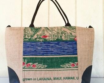Maui Burlap Coffee Bag Weekender Overnight Carryon bag