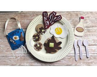 Breakfast Play Food Set- Handmade Play Food- Breakfast set - Pretend food - 17 Piece set- Pancakes