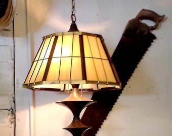 Vintage Ship's Lamp, Brass and Slag Glass Hanging Light