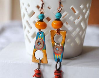 Southwest Earrings, Boho Earrings, Enamel Earrings,
