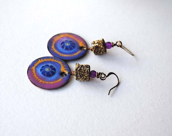 Sparkling Gold Earrings, Artisan Enamel Earrings, Boho Chic Earrings, Druzy Stone Earrings, Abstract Earrings, Purple Earrings, OOAK Jewelry