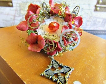 A Garden in Time Steampunk Floral Brooch