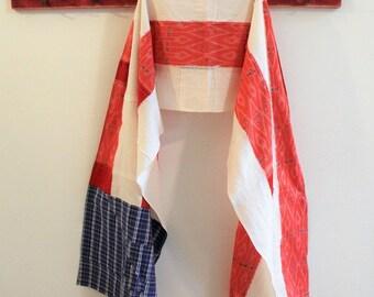 Upcycled Cotton Shirt Scrap Scarf, American Flag Scarf, Pojagi scarf,  Boro Scarf