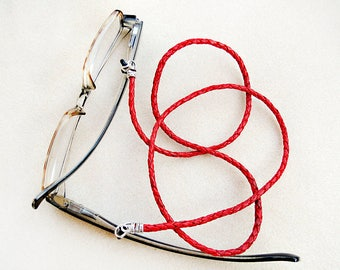 Braided Leather Eyeglass Leash for Women or Men in Red, Dark Brown, Natural, Cognac, OR Black, Handmade Jewelry, Reading Glasses Necklace