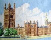 RESERVED - Vintage Westminster Palace Tea Towel, U.K. Souvenir Tea Towel, Linen Large Tea Towel, Blackstaff, by mailordervintage on etsy