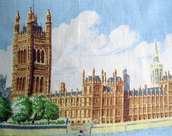 Vintage Westminster Palace Tea Towel, U.K. Souvenir Tea Towel, Linen Large Tea Towel, Blackstaff, by mailordervintage on etsy