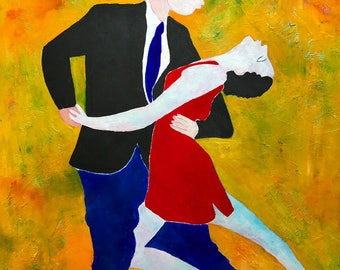 Tango Dancers - ooak - 20 x 16ins (50 x 40cms) They are dancing the night away.