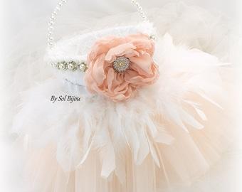 Flower Girl Basket, Blush, White, Tutu Basket, Elegant Wedding, Vintage Style,  Pearl Handle, Lace, Feather Basket, Tulle, Crystals, Gatsby