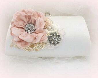 White Gold Blush Wedding Clutch, Satin Bridal Handbag Purse with Crystals and Pearls, Elegant Clutch
