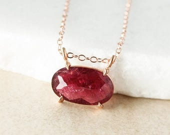 ON SALE Wine Red Tourmaline Necklace, Tourmaline Connector Necklace, Sideway Necklace
