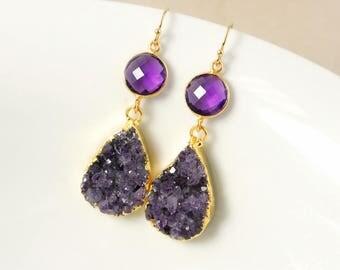 50% OFF SALE - Gold Purple Amethyst Geode Earrings - Teardrop Earrings - Amethyst Quartz