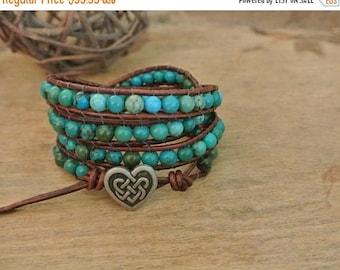 50% OFF SALE Celtic Heart Turquoise Beaded Leather Wrap Bracelet
