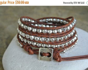 SALE 60% OFF Simplicity Silver Pewter Beaded Natural Leather Wrap Bracelet
