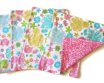 Kids Cloth Napkins, 8 X 8, Cotton Reversible Napkins, Set of 4, Pink Floral, Double Sided, Easter, Lunchbox Napkins,  Reusable