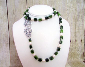 Jade and Pearl Necklace with Matching Earrings