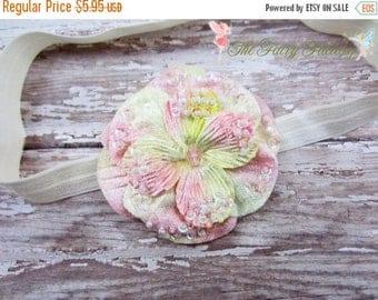 Pink and Ivory Flower Headband, Velvety Flower w/ Sequins & Beads Headband or Hair Clip, Infant Headband, Newborn, Baby Child Girls Headband