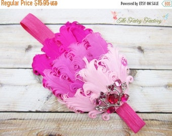 Pink and Hot Pink Feather Headband, Nagorie Feather Headband w/ Large Crystal Accent, Baby Toddler Child Girls Headband Adult