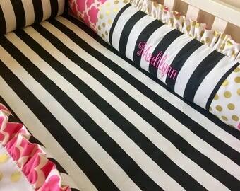 Crib Bumper Pads, Baby Bumpers, Hot Pink Crib Bumper, Baby Bumper Pads, Gold Crib Bumper, Crib Bedding, Luxury Crib Bumper, Baby Girl Bumper