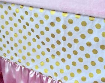 Gold Dot Crib Skirt, Baby Pink Crib Skirt, Tailored Crib Skirt, Ruffled Crib Skirt, Baby Bed Skirt, Girl Crib Skirt
