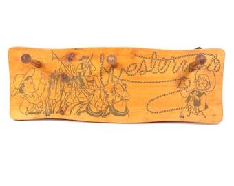 Cowboy Westerner Childs Clothing Rack Vintage 1950s Cowgirl Hanging Coat Rack