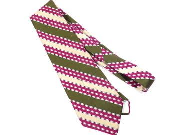 Lord Copley Fucshia Pink and Olive Green Tie Vintage 1970s Necktie Mens Retro Kitschy Striped Tie - FREE Domestic Shipping