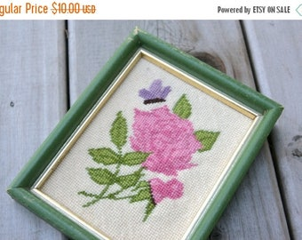 SALE SALE SALE Vintage Wall Hanging Cross Stitch Pink Roses Purple Butterfly Needlework Art Green Wooden Frame Cottage Chic