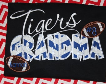 Football Grandma adult shirt- any school.  You choose fabric