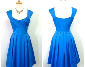1980s Dress Blue Cotton CALVIN KLEIN Vintage 80s Summer Dress S