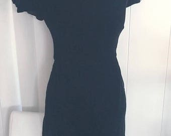 Memorial Day Sale 25% OFF Vintage Black Velvet Wiggle Dress with Bow Cap Sleeves -- Cute -- Size M