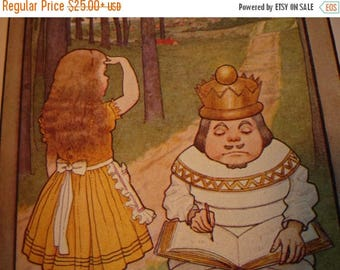 ON SALE Alice and the White King Through the Looking Glass Lewis Carroll - M.L.Kirk - 1905 color book plate color lithograph framable
