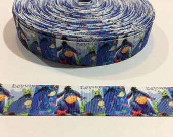 3 Yards of Ribbon - Blue Eeyore 7/8 inch Wide