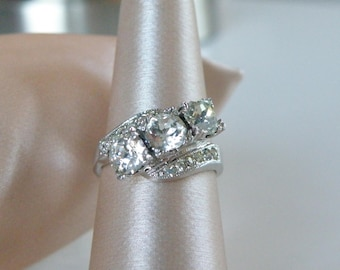 Vintage Antique Hallmark Signed Sterling Silver 925 Rhinestone Trilogy 3 Stone Engagement Ring 1940's Size 7