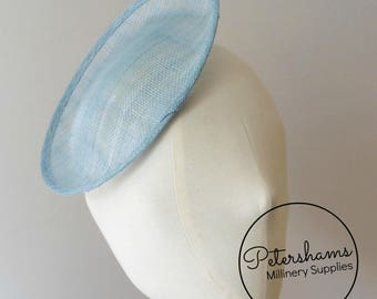 Oval Scallop Sinamay Fascinator Hat Base for Millinery & Hat Making - Light Blue