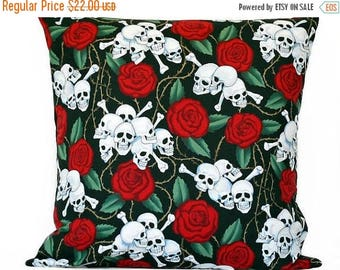 Christmas in July Sale Skulls Halloween Pillow Cover Cushion Gothic Roses Crossbones Thorns Black Red Green Decorative 18x18